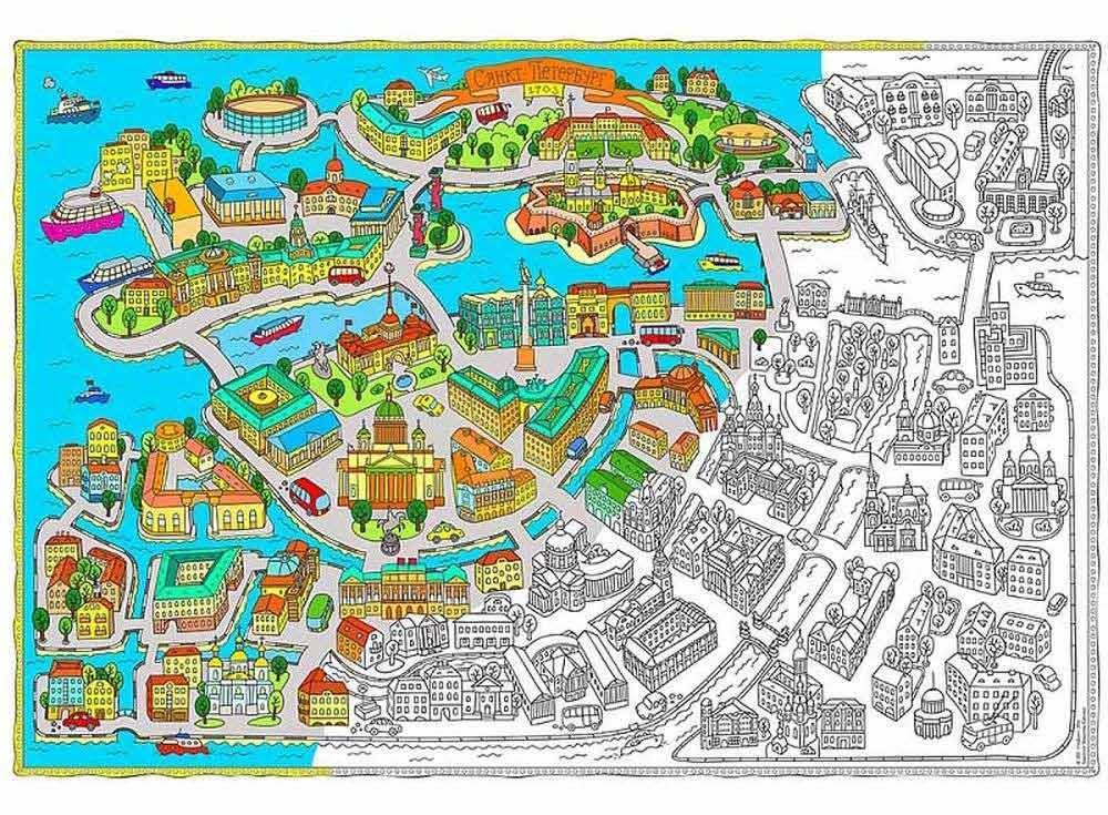 Карта-раскраска «Санкт-Петербург»Карты-раскраски<br>Отличная идея для совместного творческого досуга - раскрашивание плакатов-раскрасок. Большой размер, четкие контуры, продуманные сюжеты и качественная бумага - это именно об этих новинках среди раскрасок. Подбирайте интересный сюжет в зависимости от возра...<br>