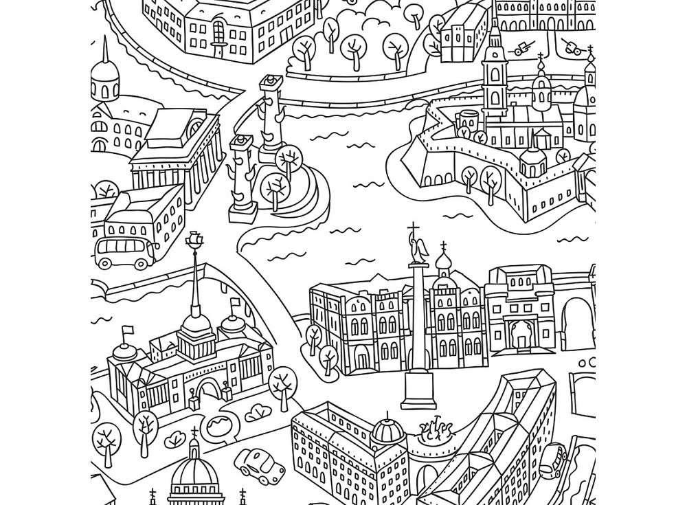 Карта-раскраска «Санкт-Петербург» 4607177453385 Геодом ...