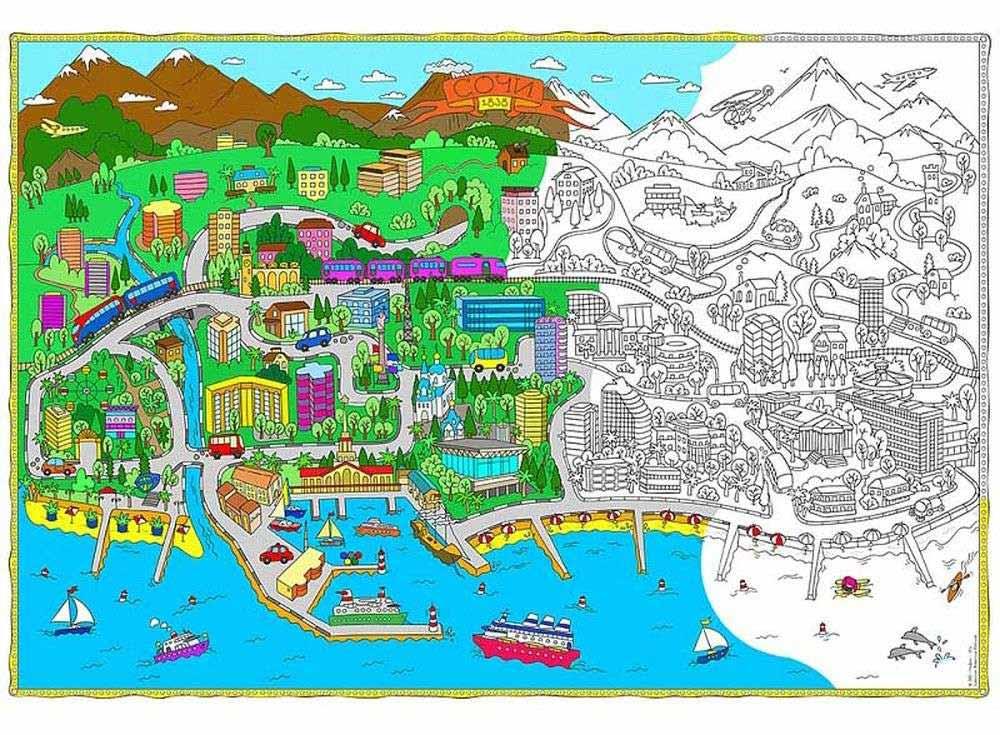Карта-раскраска «Сочи»Карты-раскраски<br><br><br>Артикул: 4607177453392<br>Основа: Плотная офсетная бумага<br>Размер: 101x69 см