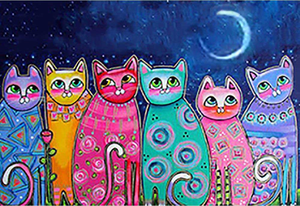 Стразы «Разноцветные коты»Алмазная вышивка Гранни<br><br><br>Артикул: Ag678<br>Основа: Холст без подрамника<br>Сложность: очень сложные<br>Размер: 70x48 см<br>Выкладка: Полная<br>Количество цветов: 43<br>Тип страз: Квадратные