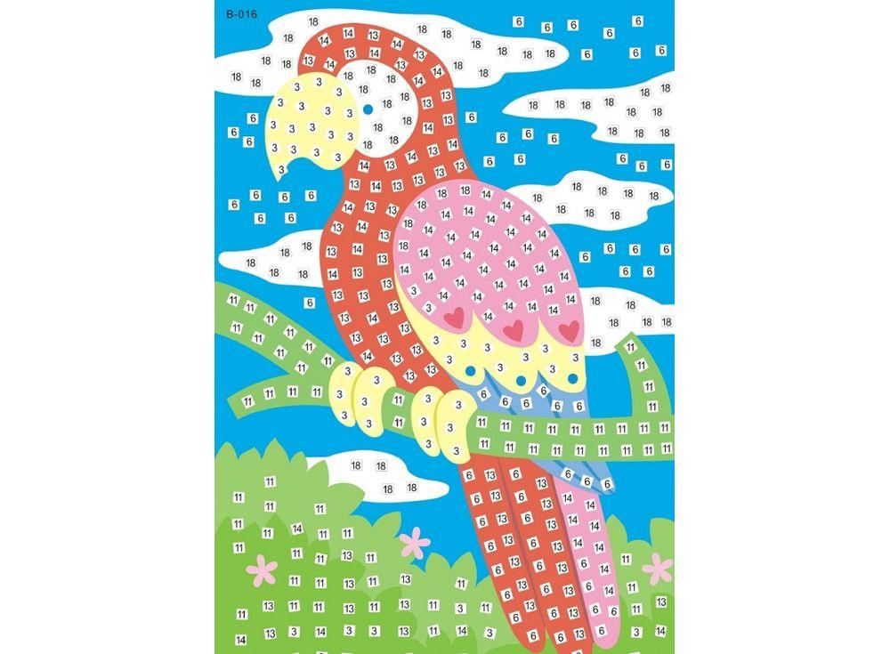 Мозаика из стикеров «Попугай»Мозаика из стикеров<br><br><br>Артикул: B016<br>Основа: Картон<br>Размер: 16,5x23,5 см<br>Возраст: от 3 лет