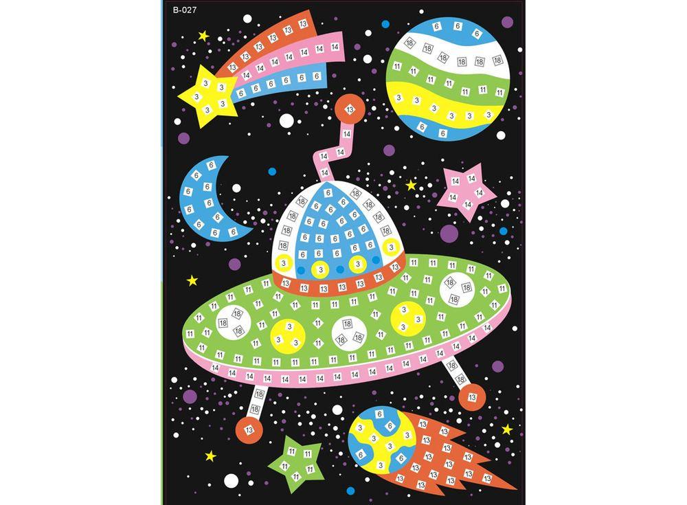 Мозаика из стикеров «Космос»Мозаика из стикеров<br><br><br>Артикул: B027<br>Основа: Картон<br>Размер: 16,5x23,5 см<br>Возраст: от 3 лет