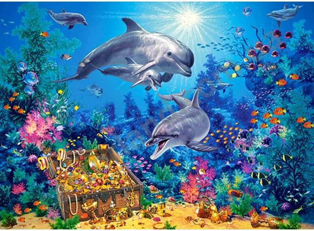 Пазлы «Семья дельфинов»Пазлы от производителя Castorland<br>Пазл - игра-головоломка, мозаика, состоящая из множества фрагментов, различающихся по форме.<br> По мнению психологов, игра в пазлы способствует развитию логического мышления, внимания, воображения и памяти. Пазлы хороши для всех возрастов - и ребенка-дошко...<br><br>Артикул: B30149<br>Размер: 40x29 см