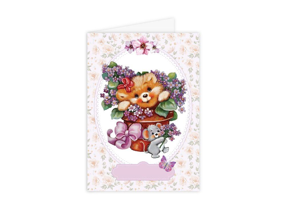Набор для открытки «Медвежонок с цветами»Наборы для создания открыток<br><br><br>Артикул: C0103<br>Основа: Плотная бумага<br>Сложность: очень легкие<br>Размер: 10x15 см