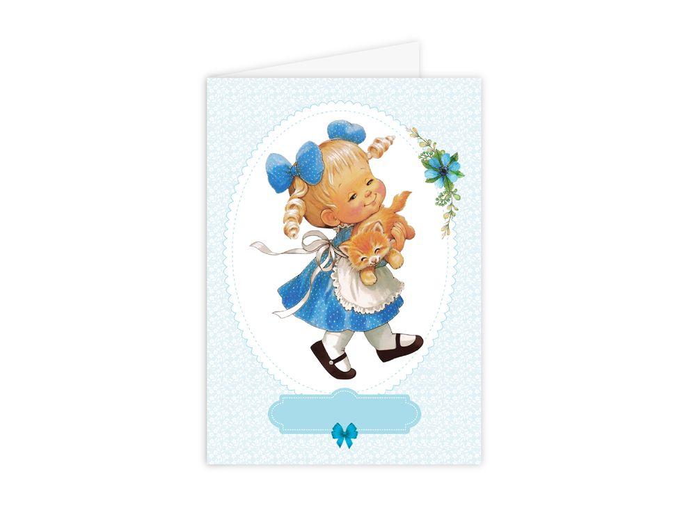 Набор для открытки «Девочка с котенком»