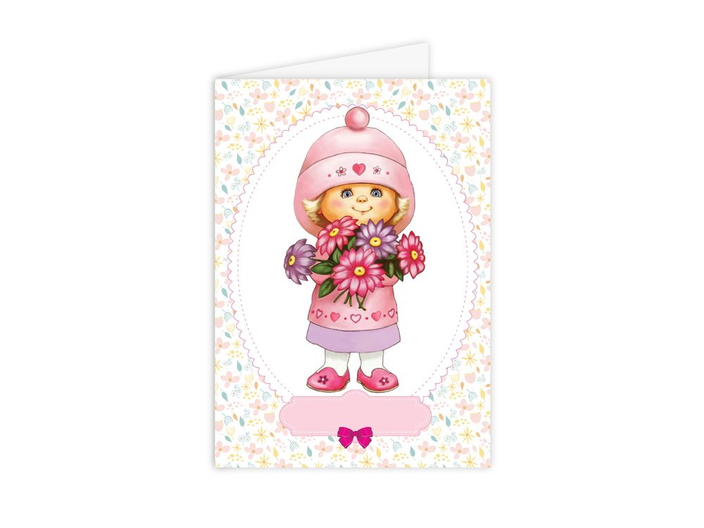 Набор для открытки «Девочка с букетом»Paperlove<br><br><br>Артикул: C0107<br>Основа: Плотная бумага<br>Сложность: очень легкие<br>Размер: 10х15 см