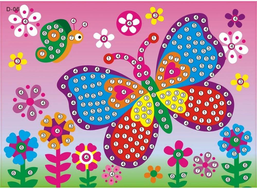 Мозаика из стикеров «Бабочка на лугу»Мозаика из стикеров<br><br><br>Артикул: D006<br>Основа: Картон<br>Размер: 16,5x23,5 см<br>Возраст: от 3 лет