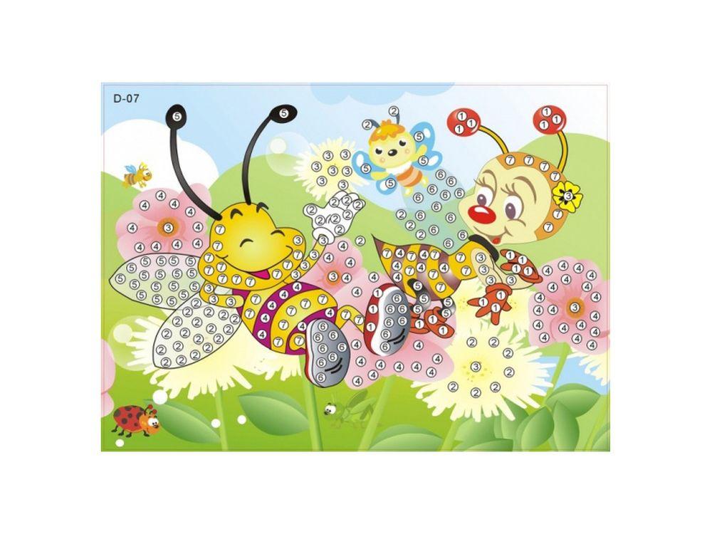 Мозаика из стикеров «Веселые пчелки»Мозаика из стикеров<br><br><br>Артикул: D007<br>Основа: Картон<br>Размер: 16,5x23,5 см<br>Возраст: от 3 лет