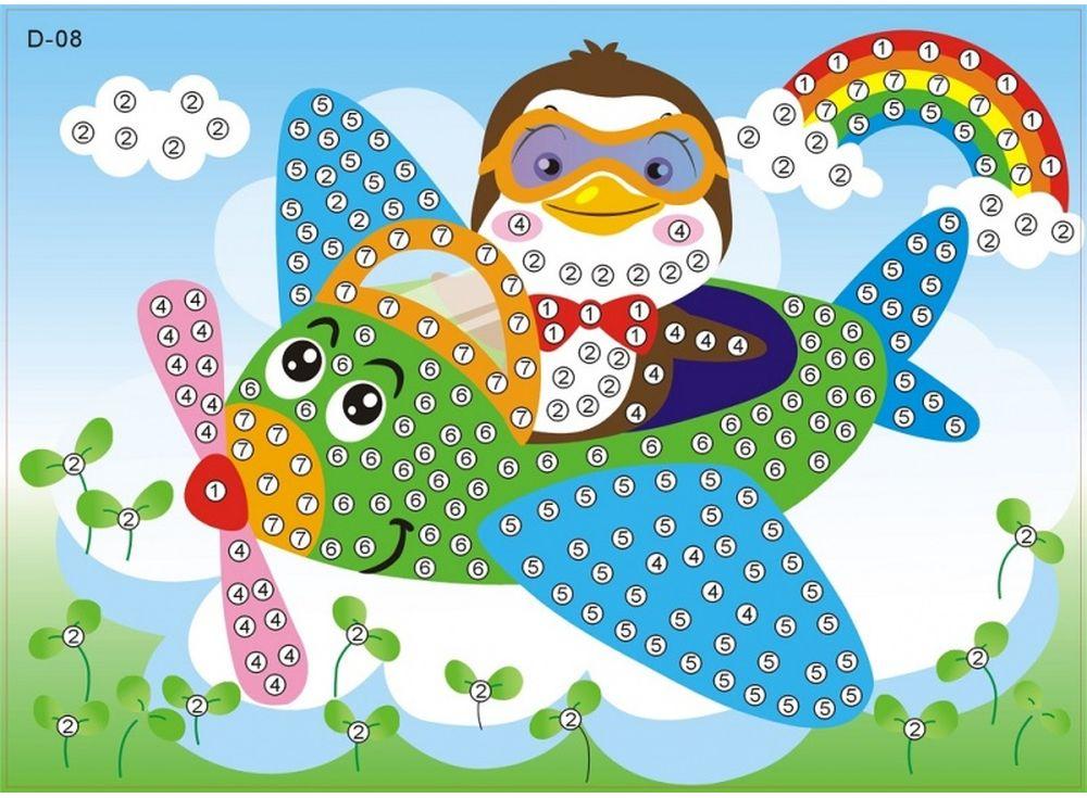 Мозаика из стикеров «Пингвин-пилот»Мозаика из стикеров<br><br><br>Артикул: D008<br>Основа: Картон<br>Размер: 16,5x23,5 см<br>Возраст: от 3 лет