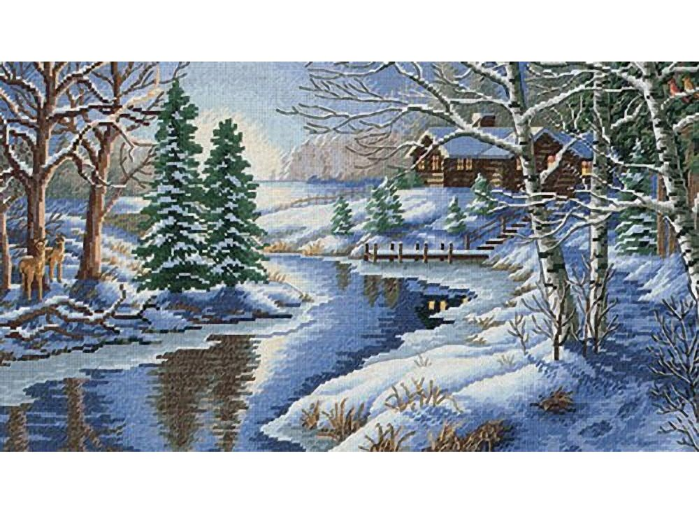 Схема вышивки «Река зимой» - Схемы автора