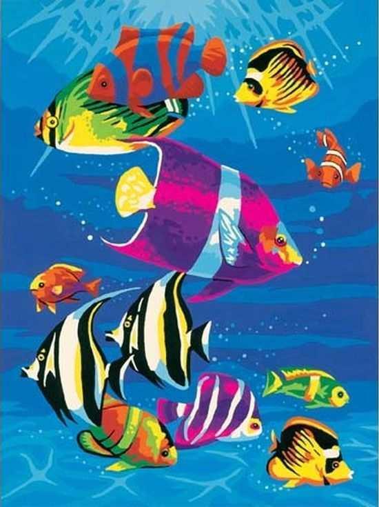 «Тропические рыбки»Цветной (Standart)<br><br><br>Артикул: E052_Z<br>Основа: Холст<br>Сложность: сложные<br>Размер: 30x40<br>Количество цветов: 25<br>Техника рисования: Без смешивания красок