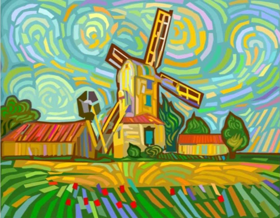 Картина по номерам «Рзноцветная мельница»Цветной (Standart)<br><br><br>Артикул: E076_Z<br>Основа: Холст<br>Сложность: сложные<br>Размер: 30x40 см<br>Количество цветов: 25<br>Техника рисования: Без смешивания красок
