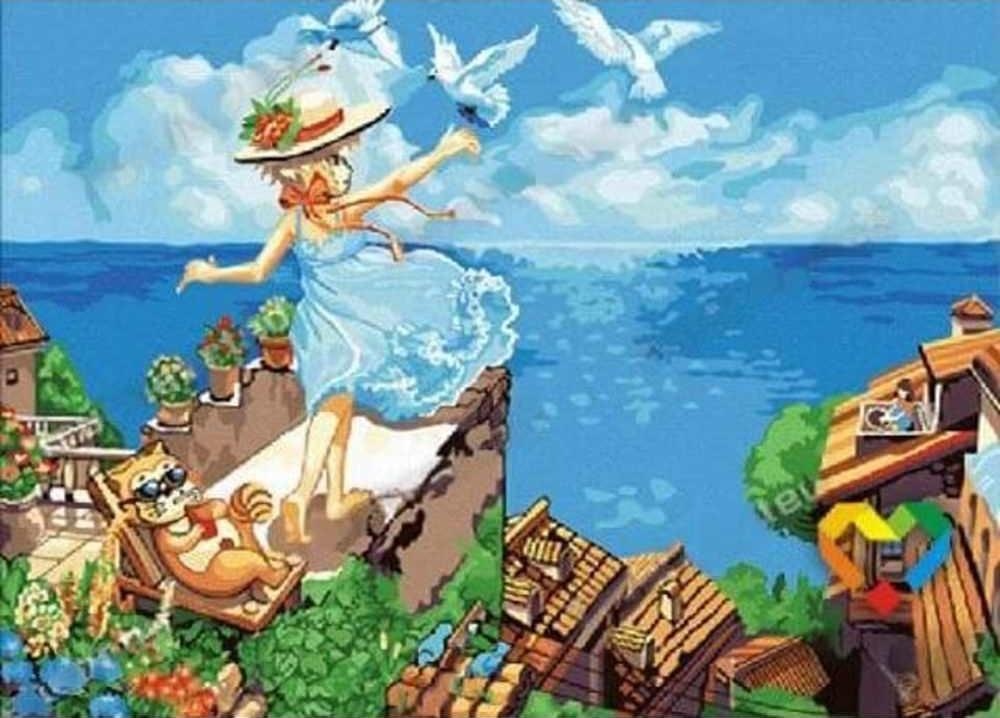 Картина по номерам «Летите, голуби, летите»Цветной (Standart)<br><br><br>Артикул: E104_Z<br>Основа: Холст<br>Сложность: сложные<br>Размер: 30x40 см<br>Количество цветов: 25<br>Техника рисования: Без смешивания красок