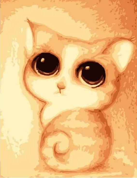 «Милый котёнок» ФабоЦветной (Standart)<br><br><br>Артикул: E116_Z<br>Основа: Холст<br>Сложность: сложные<br>Размер: 30x40<br>Количество цветов: 25<br>Техника рисования: Без смешивания красок