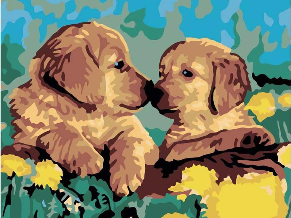 «Милые щенки»Цветной (Standart)<br><br><br>Артикул: EX5001_Z<br>Основа: Холст<br>Сложность: сложные<br>Размер: 30x40 см<br>Количество цветов: 25<br>Техника рисования: Без смешивания красок