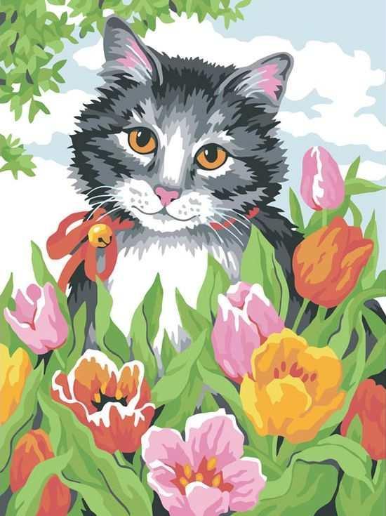 «Котенок в тюльпанах»Цветной (Standart)<br><br><br>Артикул: EX5008_Z<br>Основа: Холст<br>Сложность: сложные<br>Размер: 30x40 см<br>Количество цветов: 25<br>Техника рисования: Без смешивания красок