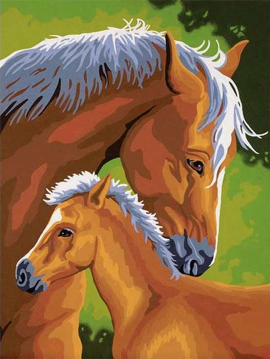 «Лошадь и жеребенок»Цветной (Standart)<br><br><br>Артикул: EX5009_Z<br>Основа: Холст<br>Сложность: сложные<br>Размер: 30x40 см<br>Количество цветов: 25<br>Техника рисования: Без смешивания красок