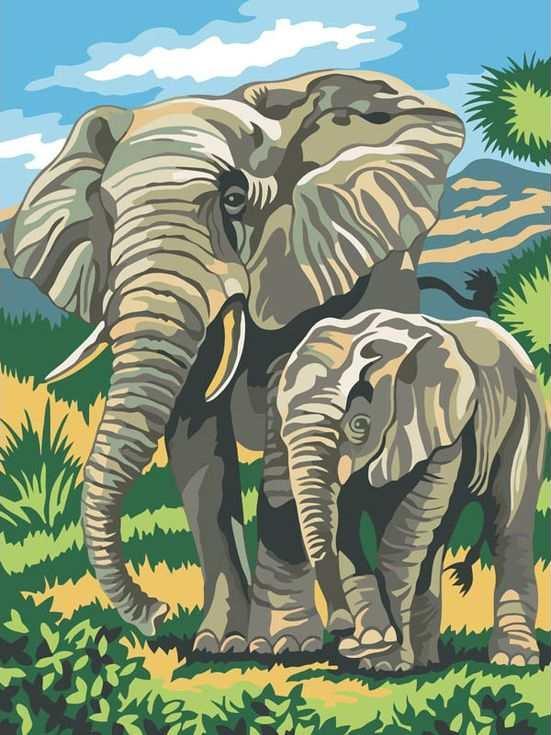 «Семья слонов»Цветной (Standart)<br><br><br>Артикул: EX5014_Z<br>Основа: Холст<br>Сложность: сложные<br>Размер: 30x40 см<br>Количество цветов: 25<br>Техника рисования: Без смешивания красок