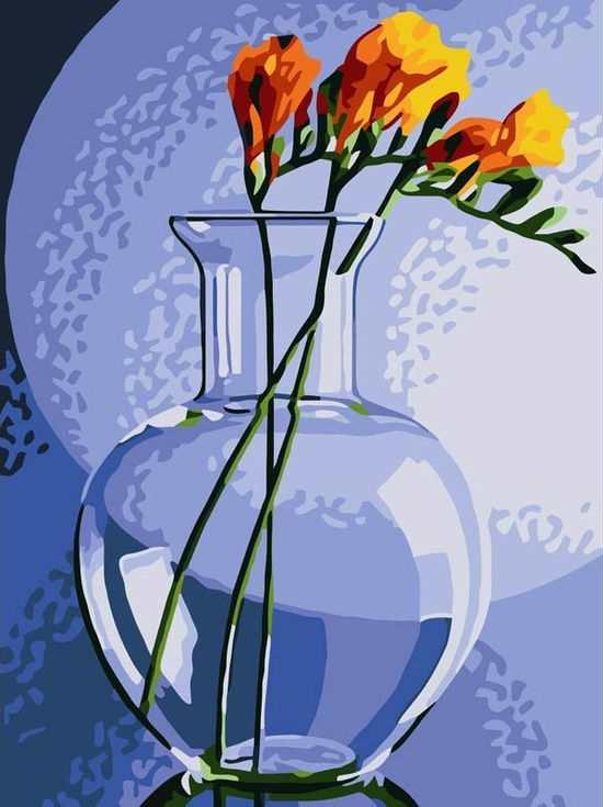 «Фрезия в вазе»Цветной (Standart)<br><br><br>Артикул: EX5017_Z<br>Основа: Холст<br>Сложность: сложные<br>Размер: 30x40 см<br>Количество цветов: 25<br>Техника рисования: Без смешивания красок