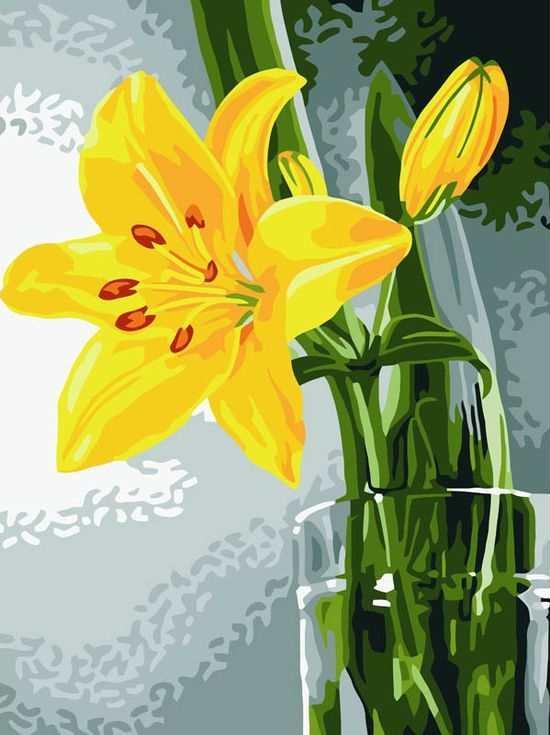 Картина по номерам «Желтая лилия»Цветной (Standart)<br><br><br>Артикул: EX5018_Z<br>Основа: Холст<br>Сложность: сложные<br>Размер: 30x40 см<br>Количество цветов: 25<br>Техника рисования: Без смешивания красок