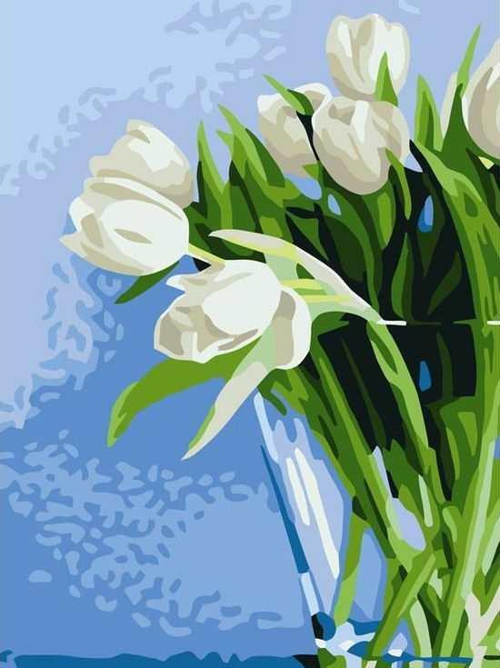 Картина по номерам «Нежные тюльпаны»Цветной (Standart)<br><br><br>Артикул: EX5019_Z<br>Основа: Холст<br>Сложность: сложные<br>Размер: 30x40 см<br>Количество цветов: 25<br>Техника рисования: Без смешивания красок