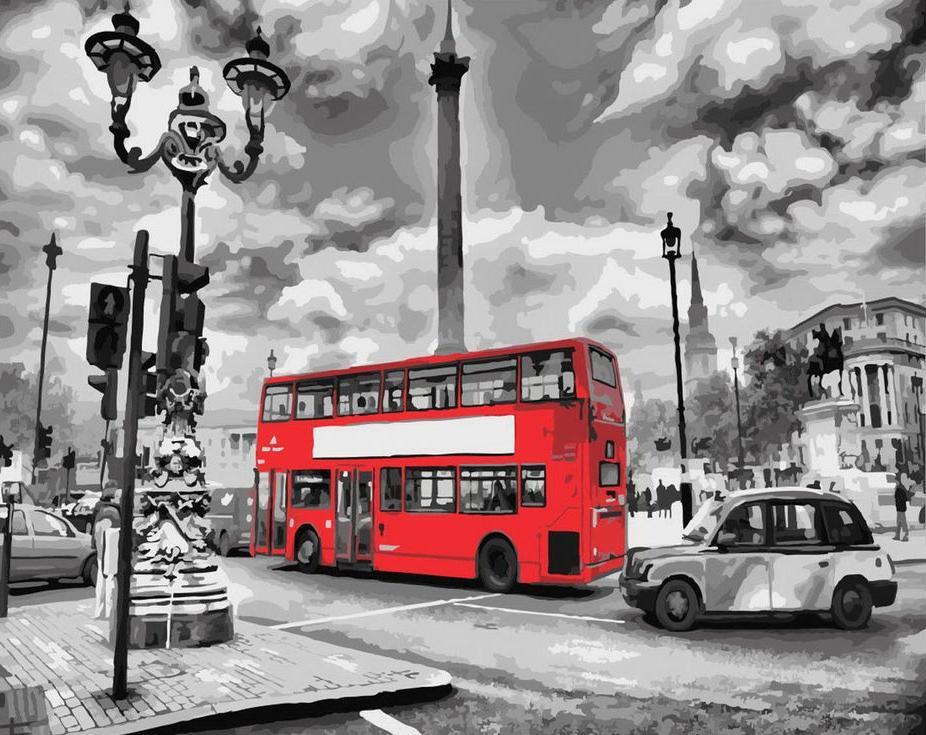 «Красный автобус»Цветной (Standart)<br><br><br>Артикул: GX8246_Z<br>Основа: Холст<br>Сложность: сложные<br>Размер: 40x50 см<br>Количество цветов: 25<br>Техника рисования: Без смешивания красок