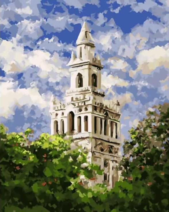 Картина по номерам «Церковь» Фахида НасираЦветной (Standart)<br><br><br>Артикул: GX8250_Z<br>Основа: Холст<br>Сложность: сложные<br>Размер: 40x50 см<br>Количество цветов: 25<br>Техника рисования: Без смешивания красок