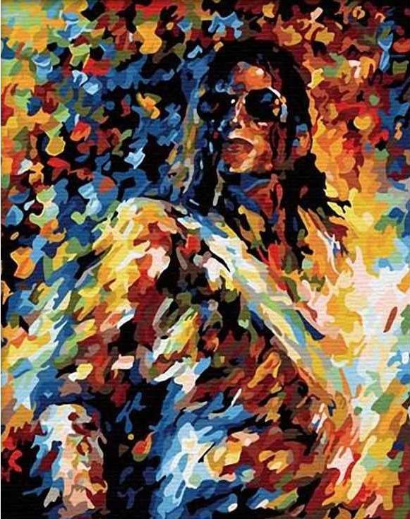«Король поп-музыки» Леонида АфремоваЦветной (Standart)<br><br><br>Артикул: GX8463_Z<br>Основа: Холст<br>Сложность: сложные<br>Размер: 40x50 см<br>Количество цветов: 25<br>Техника рисования: Без смешивания красок