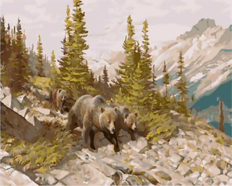 «Медведи в горах»Цветной (Standart)<br><br><br>Артикул: GX8475_Z<br>Основа: Холст<br>Сложность: сложные<br>Размер: 40x50 см<br>Количество цветов: 25<br>Техника рисования: Без смешивания красок