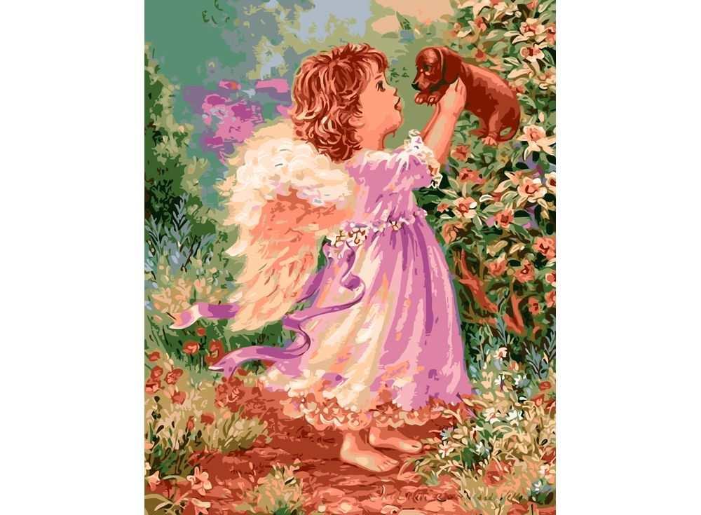Картина по номерам «Ангелок и такса»Раскраски по номерам Paintboy (Original)<br><br><br>Артикул: GX8482_R<br>Основа: Холст<br>Сложность: сложные<br>Размер: 40x50 см<br>Количество цветов: 29<br>Техника рисования: Без смешивания красок