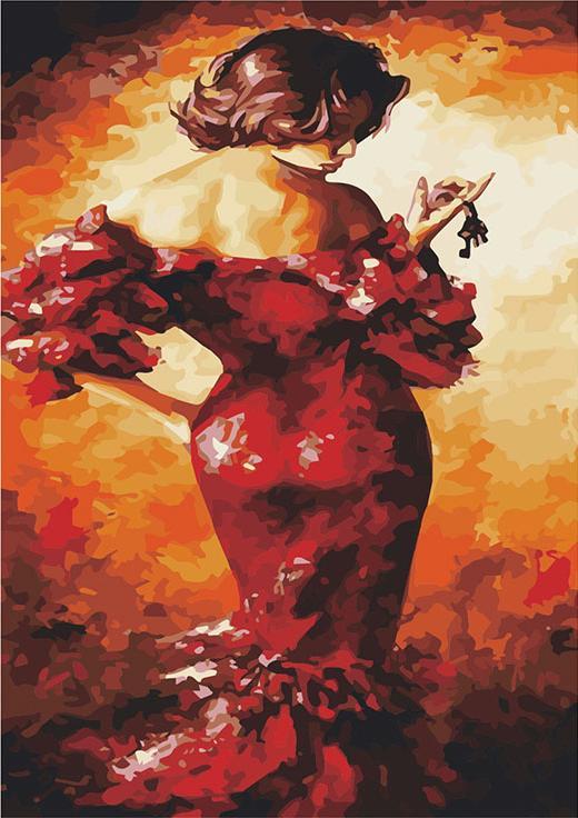«Дама в красном» Эмерико ТотаЦветной (Standart)<br><br><br>Артикул: GX8712_Z<br>Основа: Холст<br>Сложность: сложные<br>Размер: 40x50 см<br>Количество цветов: 25<br>Техника рисования: Без смешивания красок