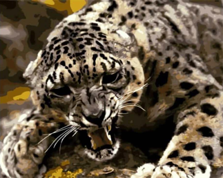 «Оскал леопарда»Цветной (Standart)<br><br><br>Артикул: GX8713_Z<br>Основа: Холст<br>Сложность: сложные<br>Размер: 40x50 см<br>Количество цветов: 25<br>Техника рисования: Без смешивания красок