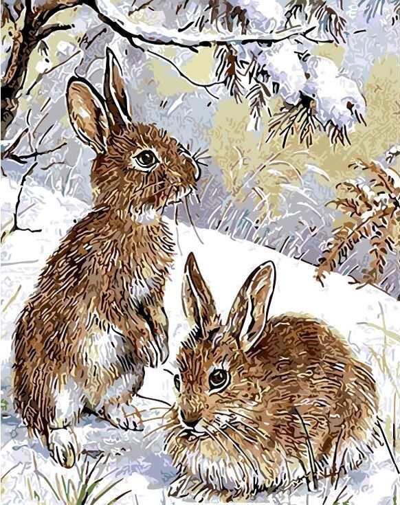 «Зимой в лесу»Цветной (Standart)<br><br><br>Артикул: GX8749_Z<br>Основа: Холст<br>Сложность: сложные<br>Размер: 40x50 см<br>Количество цветов: 25<br>Техника рисования: Без смешивания красок