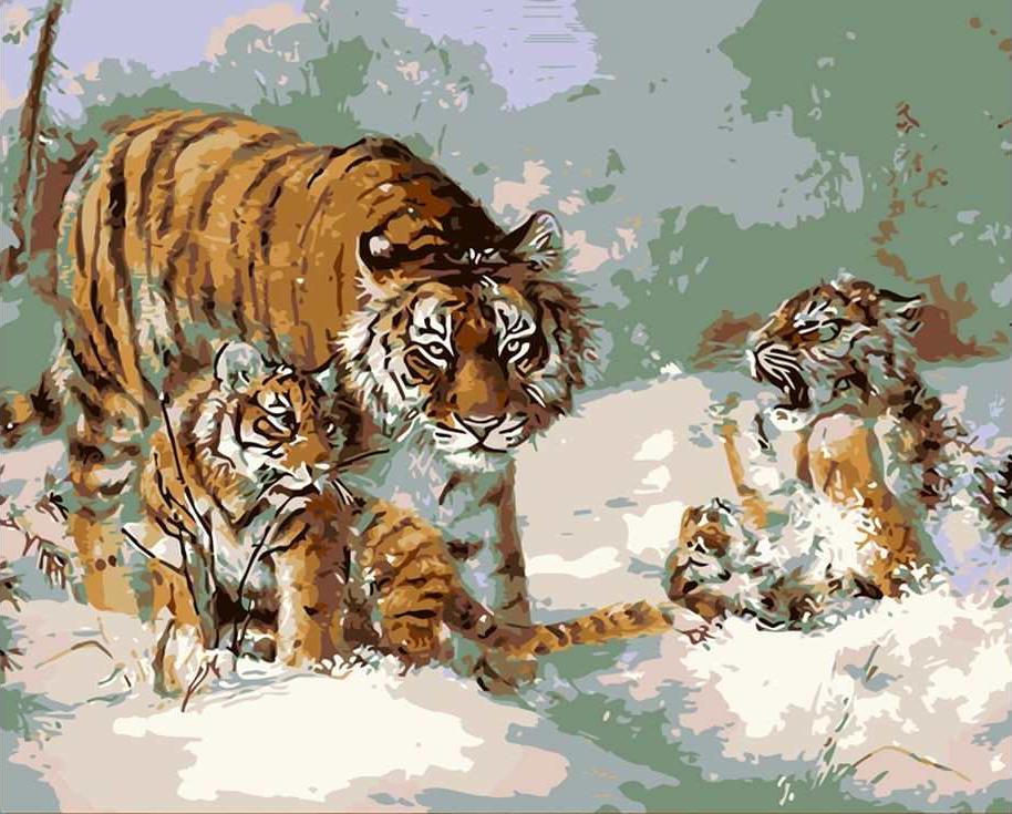 «Дикие кошки в снегу»Цветной (Standart)<br><br><br>Артикул: GX8750_Z<br>Основа: Холст<br>Сложность: сложные<br>Размер: 40x50 см<br>Количество цветов: 25<br>Техника рисования: Без смешивания красок