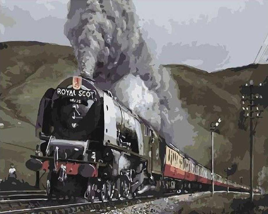 «Поезд на мосту» Дэвида ХэйсаЦветной (Standart)<br><br><br>Артикул: GX8793_Z<br>Основа: Холст<br>Сложность: сложные<br>Размер: 40x50 см<br>Количество цветов: 25<br>Техника рисования: Без смешивания красок