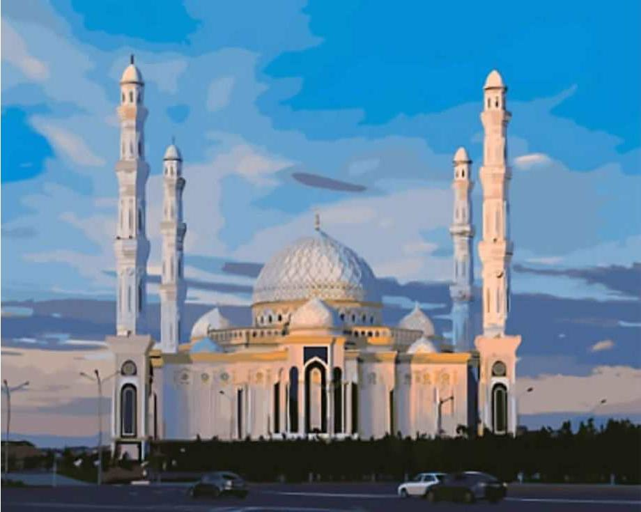 «Соборная мечеть в Астане»Цветной (Standart)<br><br><br>Артикул: GX8811_Z<br>Основа: Холст<br>Сложность: сложные<br>Размер: 40x50 см<br>Количество цветов: 25<br>Техника рисования: Без смешивания красок