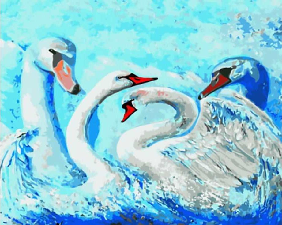 «Лебеди» Ирины СушельницкойЦветной (Standart)<br><br><br>Артикул: GX8904_Z<br>Основа: Холст<br>Сложность: сложные<br>Размер: 40x50 см<br>Количество цветов: 25<br>Техника рисования: Без смешивания красок
