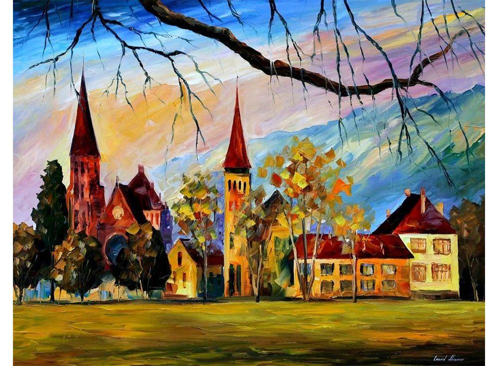 Картина по номерам «Интерлакен, Швейцария» Леонида АфремоваPaintboy (Premium)<br><br><br>Артикул: GX9120<br>Основа: Холст<br>Сложность: средние<br>Размер: 40x50 см<br>Количество цветов: 26<br>Техника рисования: Без смешивания красок