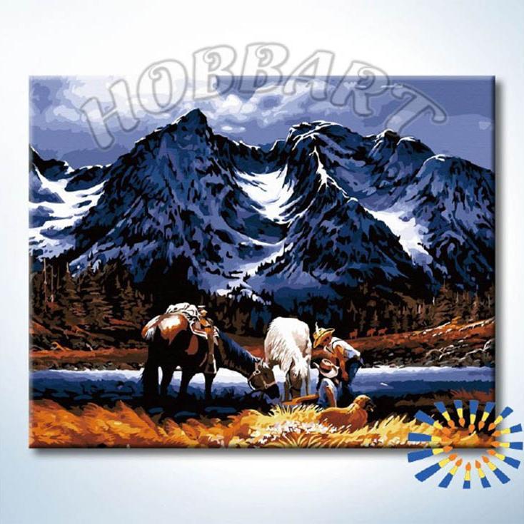 Картина по номерам «Привал»Hobbart<br><br><br>Артикул: HB4050353<br>Основа: Холст<br>Сложность: сложные<br>Размер: 40x50 см<br>Количество цветов: 25<br>Техника рисования: Без смешивания красок