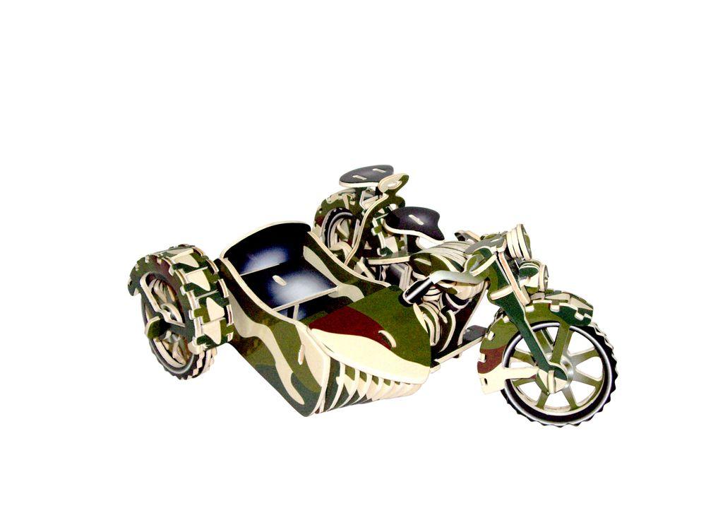 Конструктор «Мотоцикл с коляской (цветной)»Сборные деревянные модели<br>Конструкторы от производителя Чудо-дерево для детей и взрослых, для подарка и личного интересного досуга – теперь на Цветное.ру. Многообразие моделей позволит сделать выбор даже самому требовательному покупателю. <br> <br> Приобретая конструктор от производит...<br><br>Артикул: PC124<br>Вес: 0,42 кг<br>Размер готовой модели: 10,5x19,5x16 см<br>Материал: Дерево<br>Упаковка: прозрачная пленка<br>Размер упаковки: 37,0 x 0,9 x 23,0 см<br>Количество пластин заготовок шт: 3<br>Размер пластин: 23x37x0,3 см<br>Возраст: от 5 лет
