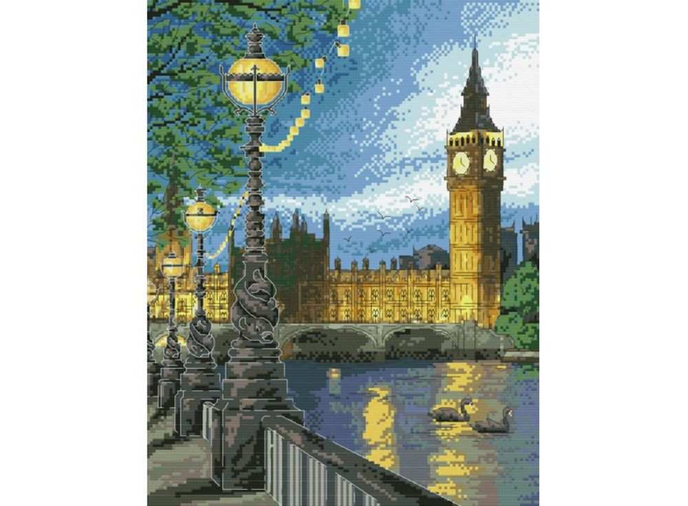 Набор для вышивания «Вечерний Лондон»Белоснежка<br><br><br>Артикул: В-4054<br>Основа: канва Aida 14<br>Сложность: сложные<br>Размер: 35x43 см<br>Техника вышивки: счетный крест<br>Тип схемы вышивки: Цветная схема<br>Количество крестиков: 140x180<br>Цвет канвы: Белый<br>Размер вышитой работы: 25,5x33 см<br>Количество цветов: 32<br>Рисунок на канве: не нанесён<br>Техника: Вышивка крестом