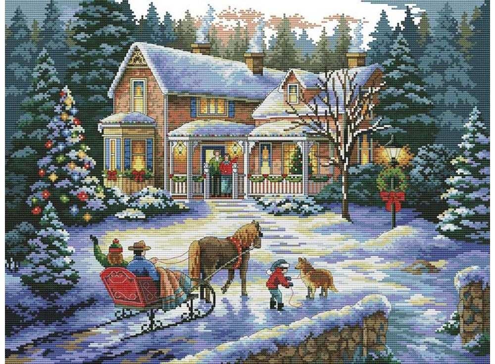 Набор для вышивания «Встреча Рождества»Белоснежка<br><br><br>Артикул: В-4145<br>Основа: канва Aida 14<br>Сложность: сложные<br>Размер: 43x54 см<br>Техника вышивки: счетный крест<br>Тип схемы вышивки: Цветная схема<br>Количество крестиков: 192x256<br>Цвет канвы: Белый<br>Размер вышитой работы: 35x47 см<br>Количество цветов: 43<br>Рисунок на канве: не нанесён<br>Техника: Вышивка крестом