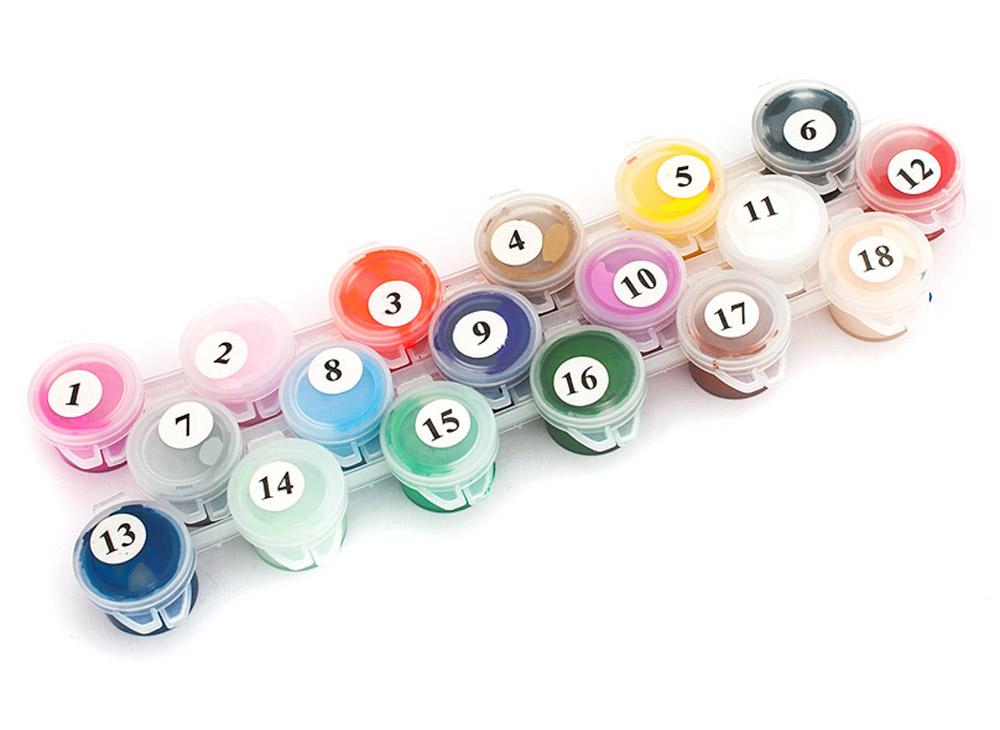 Набор акриловых красок (18 цветов)Аксессуары для рисования картин по номерам<br>Акриловые краски 18 цветов<br><br>Артикул: К-1/NK12