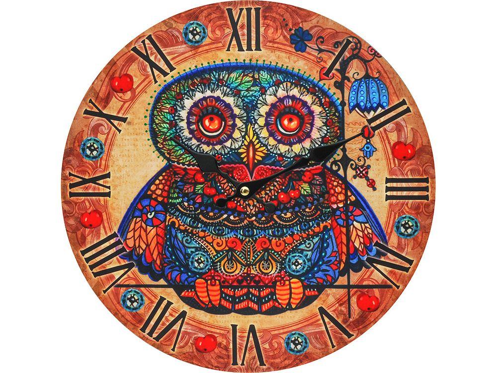 Часы настенные «Волшебная сова с рябиной»Дизайнерские настенные часы<br><br><br>Артикул: 002-CL<br>Размер: 34 см (диаметр)