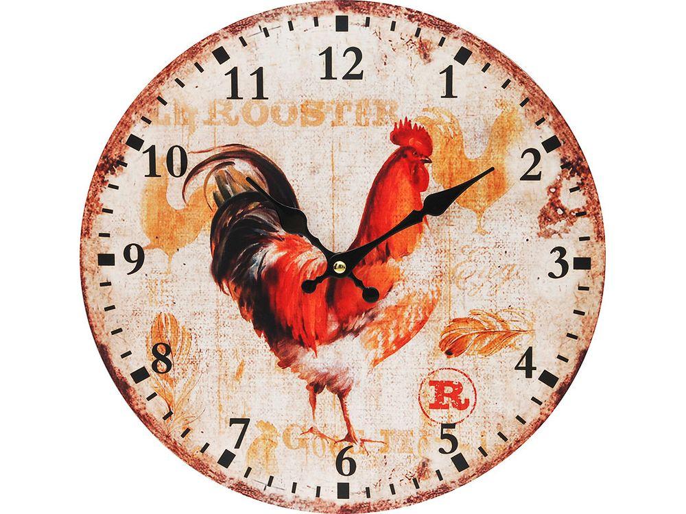 Часы настенные «Петушок»Дизайнерские настенные часы<br><br><br>Артикул: 100-CL<br>Размер: 34 см (диаметр)