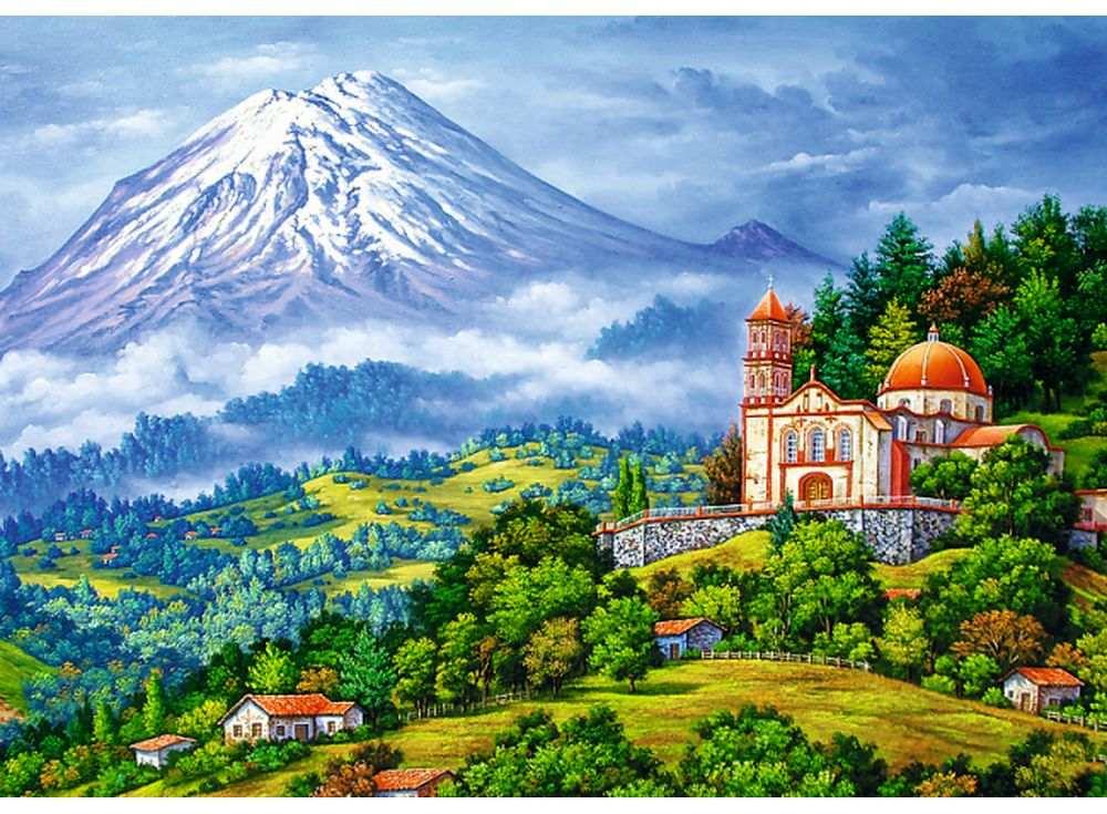 Пазлы «Пейзаж с вулканом»Trefl<br><br><br>Артикул: 10431<br>Размер: 68x48 см