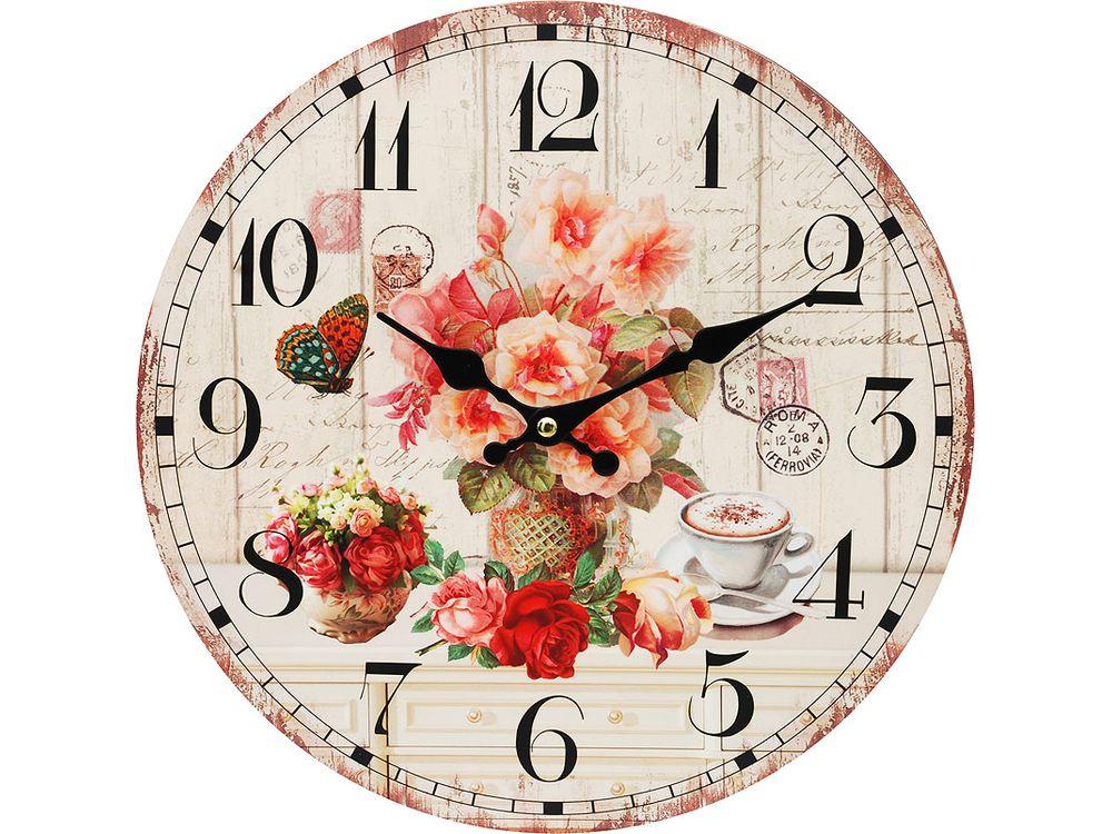 Часы настенные «Розы и кофе»Дизайнерские настенные часы<br><br><br>Артикул: 112-CL<br>Размер: 34 см (диаметр)