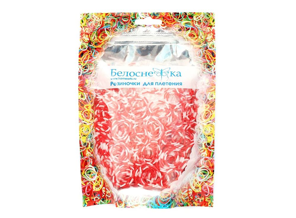 Резиночки для плетения двухцветныеРезинки для плетения<br><br><br>Артикул: 112-RB<br>Цвет: Красный+белый<br>Количество резинок шт: 1000