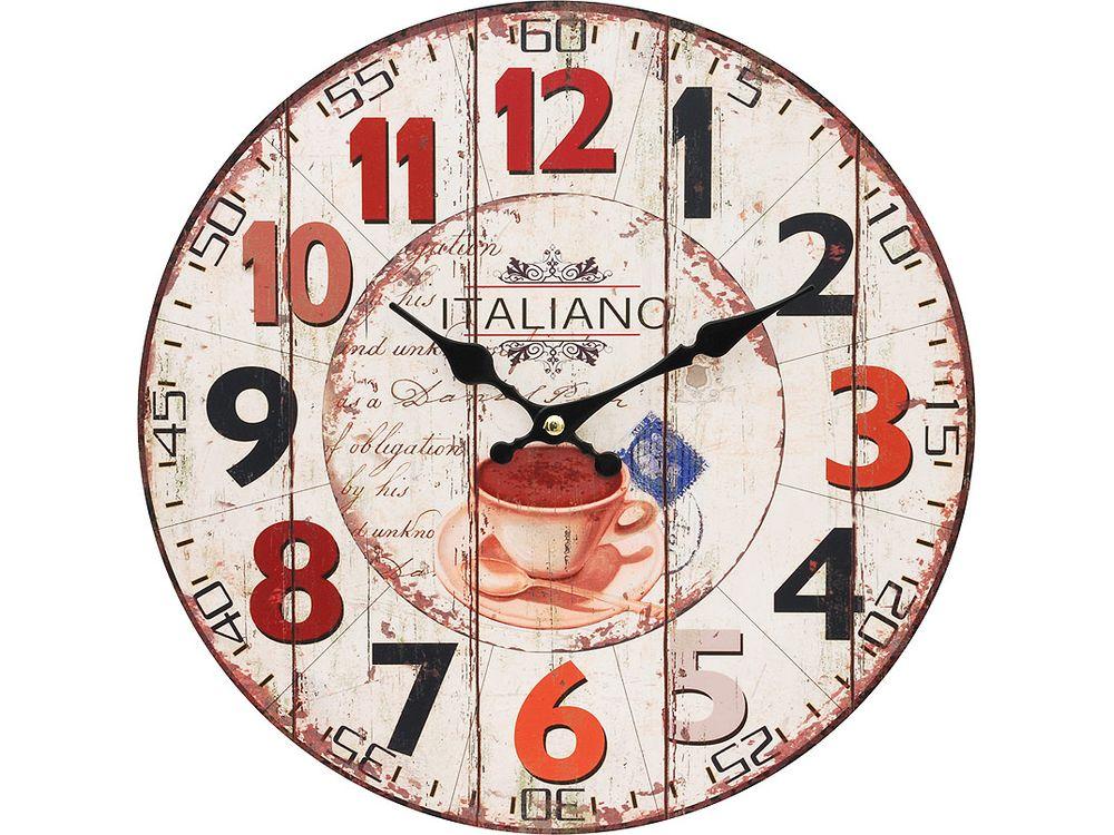 Часы настенные «Кофе из Италии»Дизайнерские настенные часы<br><br><br>Артикул: 113-CL<br>Размер: 34 см (диаметр)