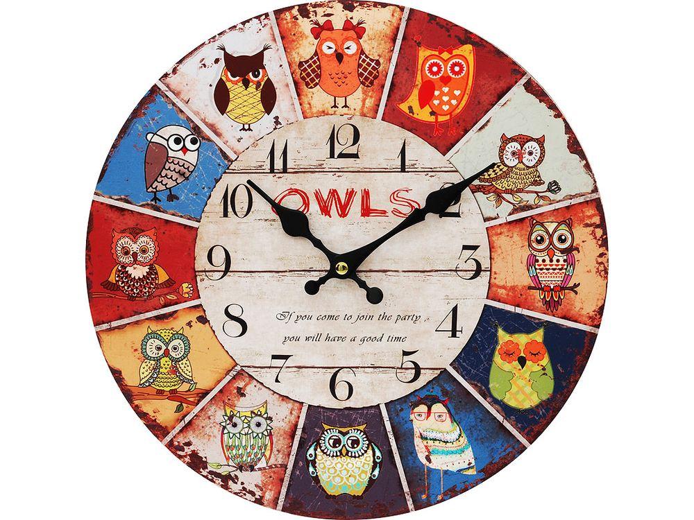 Часы настенные «День совы»Дизайнерские настенные часы<br><br><br>Артикул: 115-CL<br>Размер: 34 см (диаметр)